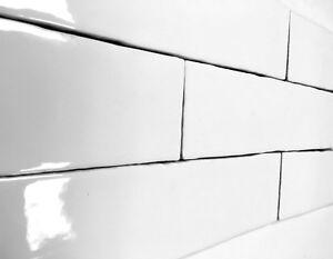 details about 3x12 white glossy subway premium ceramic tile backsplash wall kitchen one piece