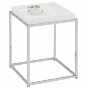 details sur table d appoint carre petite table basse bout de canape metal chrome et blanc