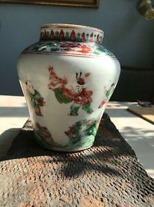 Chinese antique porcelain Early Qing, Shunzhi 順治 Famille Rose Kids playing jar