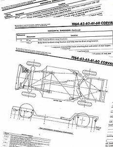 1960 1961 1962 1963 1964 CORVAIR FRAME DIAGRAM CHART WITH