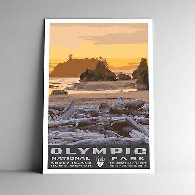 olympic national park wpa style vintage travel poster 12x18 washington usa ebay