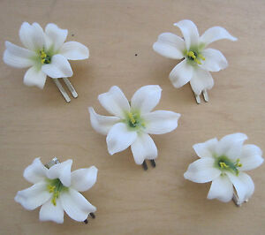 5 piece lot small 2 cream white lily silk flower hair clip wedding dance prom ebay