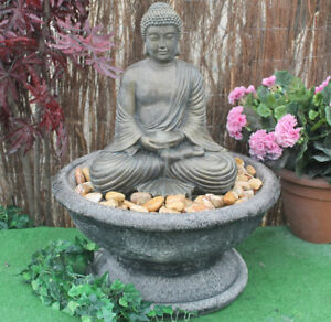 details about stone compassion buddha garden patio water fountain feature ornament