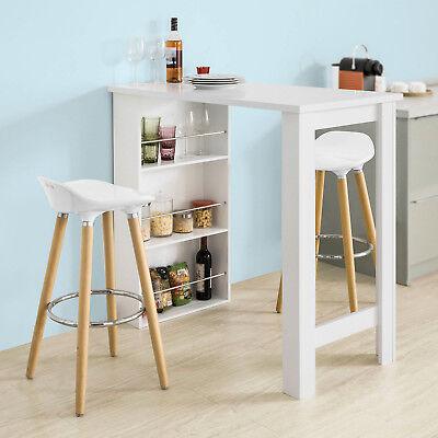 sobuy table haute de bar mange debout cuisine avec rangements blanc fwt17 w fr ebay