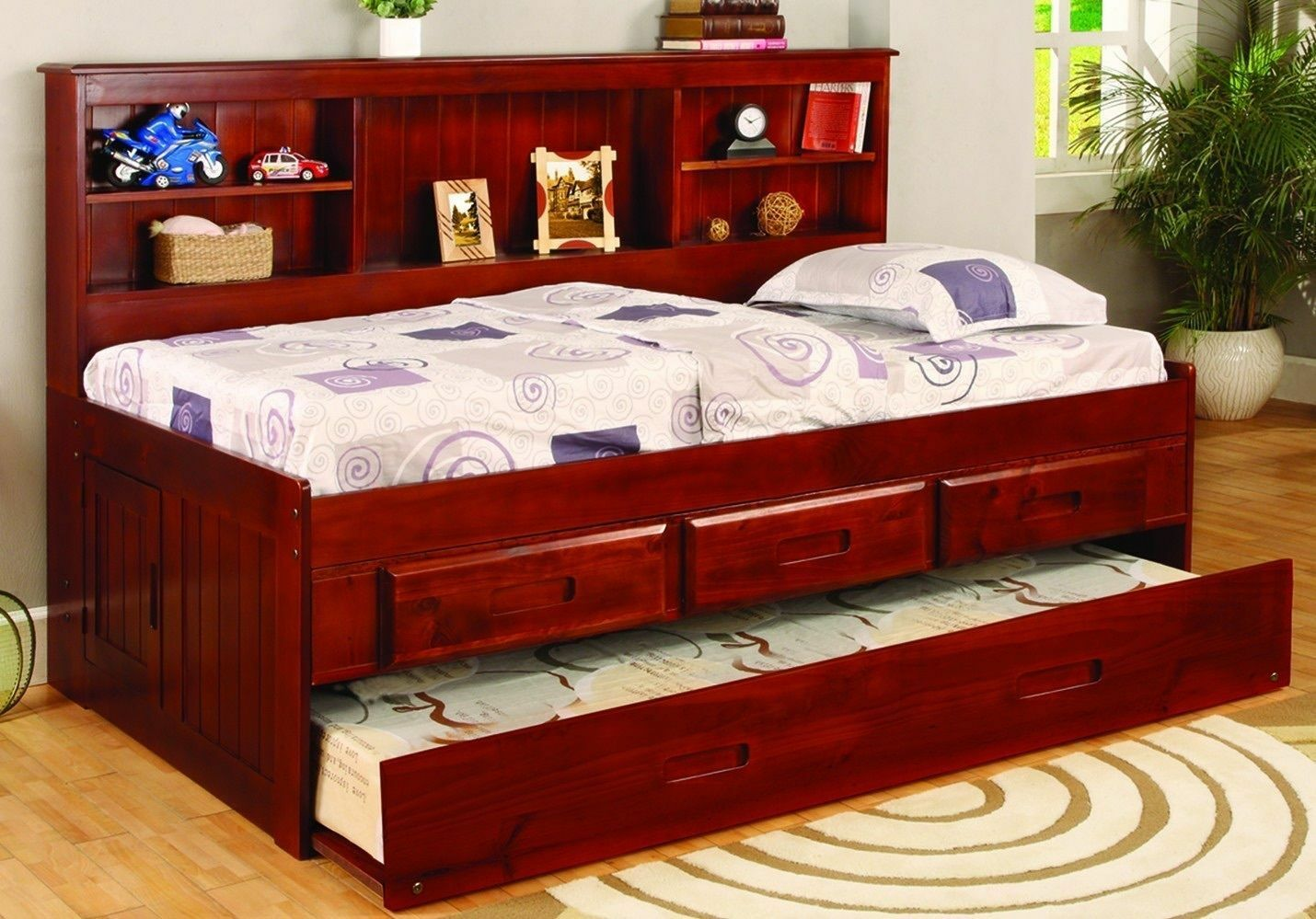 Kid S Twin Or Full Captain S Daybed With Bookcase Trundle Storage Drawers