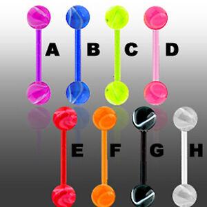 UV Zungenpiercing Piercing Schmuck Flexibel & Marmor Kugeln