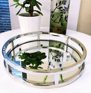 details about stunning round silver mirror tray 28cm coffee table tray bedroom entrance deco