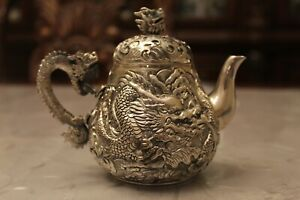 20th century Chinese 950 silver bechalor teapot (marked 950)