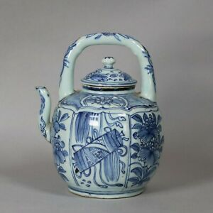 Chinese blue and white kraak wine pot and cover, Wanli (1573 - 1619)