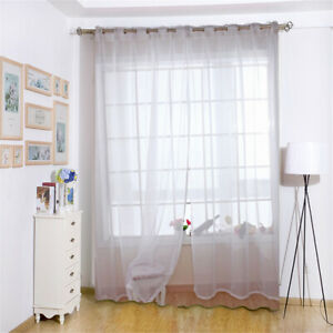 details sur voilage rideau a œillets blanc en gaze decoration pour porte fenetre