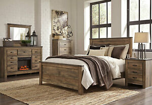 details about modern rustic brown w fireplace bedroom furniture 5pcs king size bed set ia2f