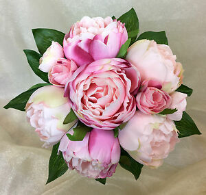 Light Pink Pink Peony Flowers Posy Artificial Silk Flower Wedding     Image is loading Light Pink Pink Peony Flowers Posy Artificial Silk