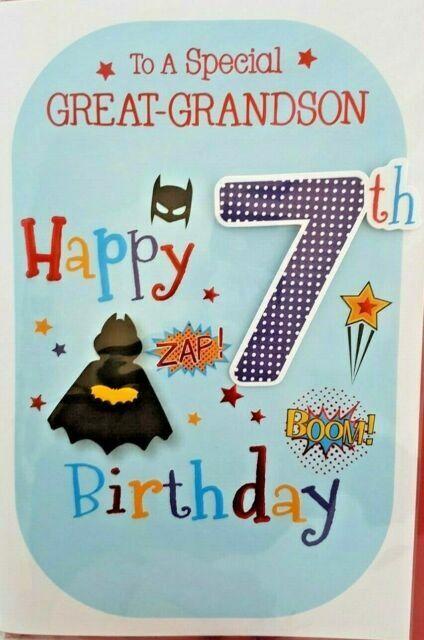 Great Grandson 7th Birthday Card Age 7 Modern Design Quality Card Verse For Sale Online Ebay