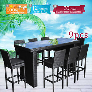 details about outdoor furniture bar table chairs patio dining pool rattan wicker set 9pcs new