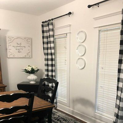 plaid buffalo check curtains black and white curtain panels country rustic decor ebay