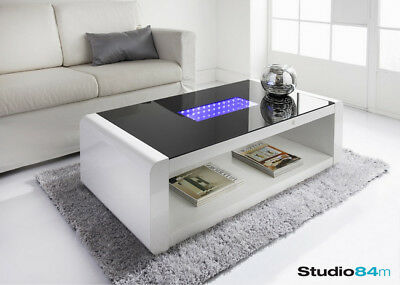 modern stylish led infinity high gloss luxury home coffee table with led lights ebay