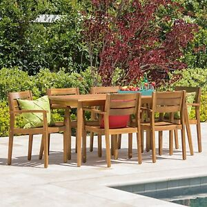 7 Piece Acacia Wood Outdoor BBQ Deck Dining Set Patio Furniture     Image is loading 7 Piece Acacia Wood Outdoor BBQ Deck Dining