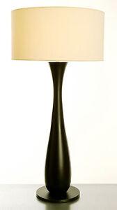 details sur lampe de salon de bureau contemporaine pied en bois tourne de finition ebene