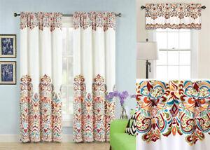 details about 2 panels paisley damask print bohemian style room darkening window curtain panel