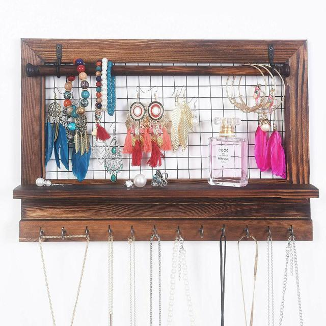 Foldable Rustic Jewelry Organizer with Bracelet Rod Wooden Wall Mount Hold 3