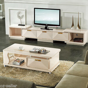 details about high gloss tv cabinet unit and coffee table set white with dark tempered glass