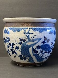 antique chinese blue and white porcelain Book Scroll Tank