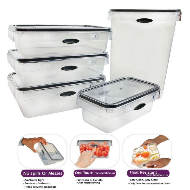 10 Piece Food Storage Set Rectangular Plastic Container, Pantry Snack Canister 2