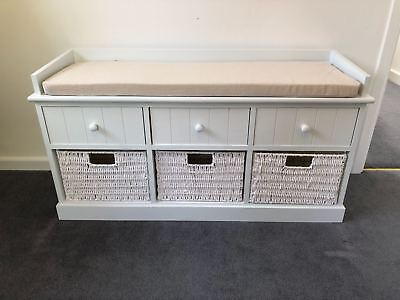 white cream storage bench window seat shoe storage unit drawers hallway furnitur ebay