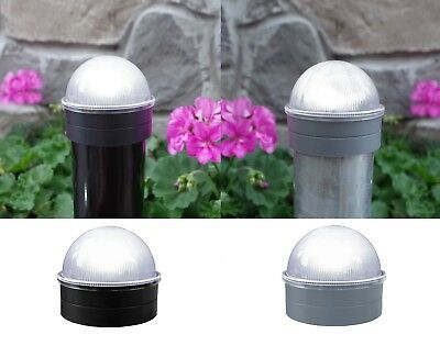 12 pack chain link fence solar post cap lights in black or silver abs summit ebay
