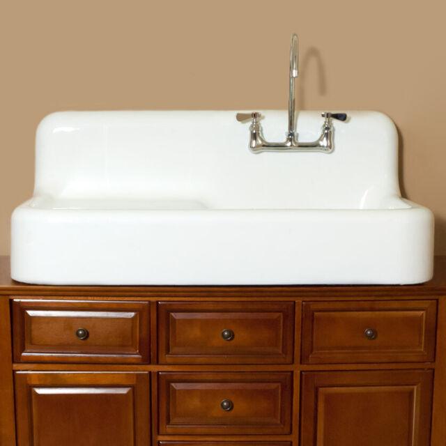 randolph morris cora cast iron farmhouse drainboard sink 8 inch faucet drilli