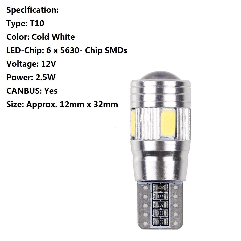 T10 501 W5w Car Side Light Bulbs Error Free Canbus 6
