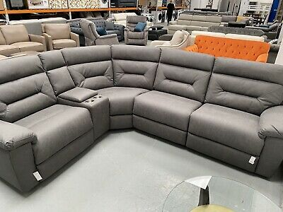 kuka justin grey fabric power reclining sectional sofa ebay