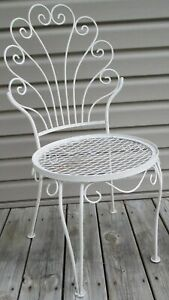details about vintage mcm hollywood regency metal wire white chippy paint outdoor patio chair