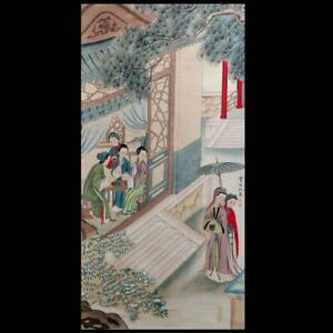 Rare Chinese Hand-painting Wall Scroll Chou Ying Marked With Ladies