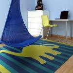 Area Rug For Kids Room With Dinosaur Printed 5 X8 Blue Lime Playroom Mat Carpet