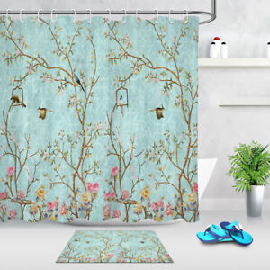 details about 72x72 bathroom waterproof fabric spring flower tree birds shower curtain liner