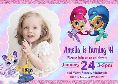 Home Garden Greeting Cards Party Supply Shimmer And Shine Invites Shimmer And Shine Birthday Party Invitations