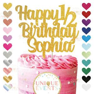Happy 1 2 Birthday Cake Topper Glitter Daughter 6 Months Half Birthday Six Month Ebay