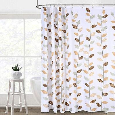 bathroom shower curtain brown leaves white bath fabric shower curtain 12 hooks ebay
