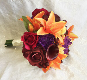 Fall Harvest Bridal Bouquet   Calla Lilies Silk Wedding Flowers     Image is loading Fall Harvest Bridal Bouquet Calla Lilies Silk Wedding