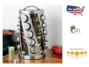 details about kamenstein 20 jar revolving spice rack spices included revolving rack