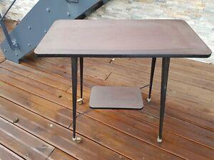 details sur meuble tv table vintage en stratifie sur roulettes