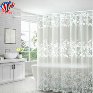 details about waterproof peva bathing shower curtain bathroom curtains with plastic hooks kit