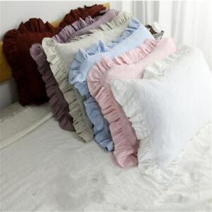 details about ruffle pillowcase 100 pure linen ruffled pillow sham cover king queen standard