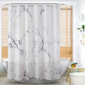 details about rideau douche baignoire marbre polyester crochets salle bain impermeable panneau