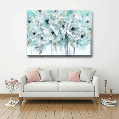 Teal Harmony Flower Stretched Canvas Print Framed Wall Art Decor Painting F117 Ebay