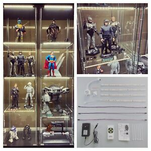 details about led lighting kit for ikea detolf glass cabinet w remote control warm white