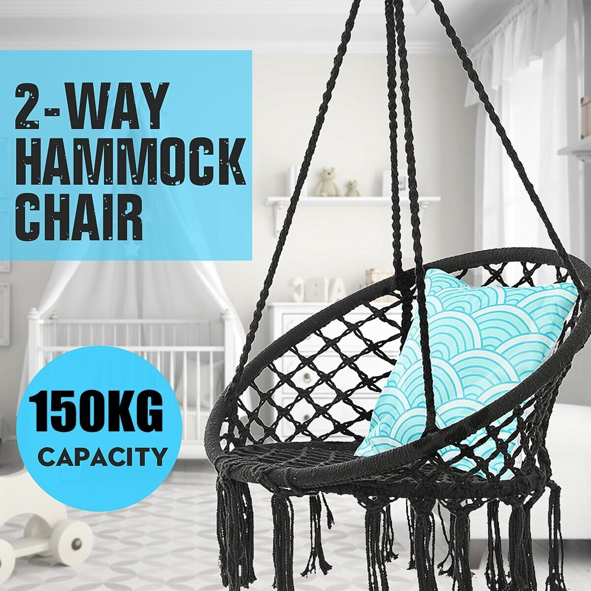 330 Pounds Hanging Swing Cotton Rope Hammock Chair Round Macrame Indoor Outdoor