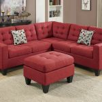 Living Room 4 Pieces Sectional Carmine Polyfiber Sofa Set With Ottoman