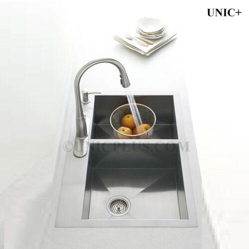 kts3021d new 30 top mount zero radius corners kitchen double bowl 50 50 sink